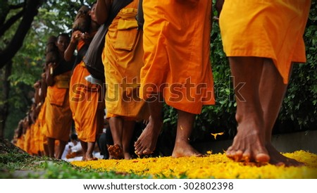Buddhist Monk Street Procession in Bangkok