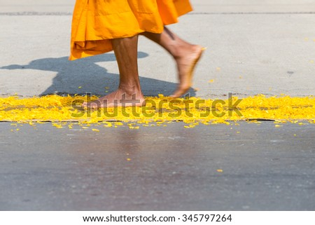 Buddhist Monk Street Procession in Bangkok - stock photo