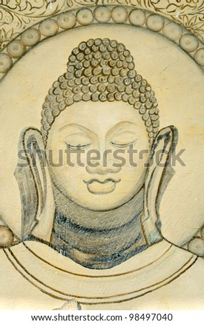 Buddhist mural, near temple in Sarnath, Varanasi, India. (where the Buddha preached his first sermon) - stock photo