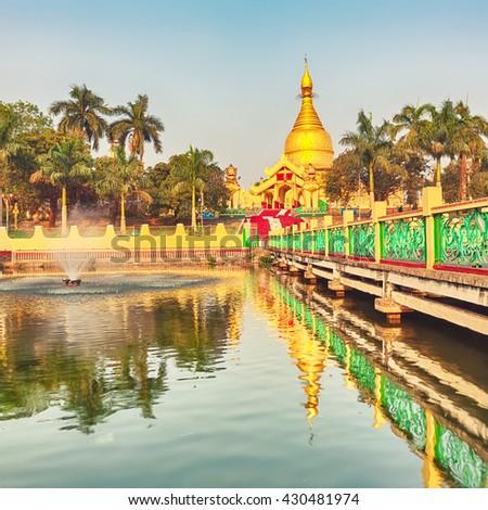 Buddhist pagoda Maha Wizaya in Yangon. Myanmar.  - stock photo