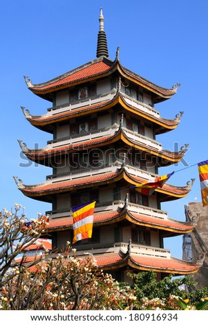 Buddhist pagoda Vinh Nghiem in Ho Chi Minh City (Saigon), Vietnam. - stock photo