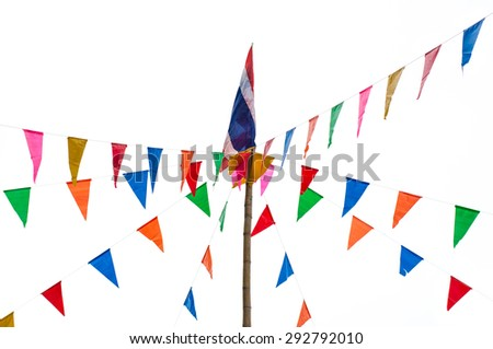 Buddhist prayer flags the holy traditional flag - stock photo