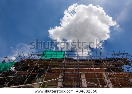Buddhist sanctuary is under construction - stock photo