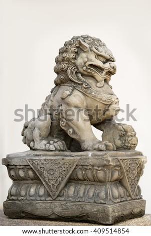 Buddhist sculpture. Singha Stone statue in Phuket, Thailand - stock photo