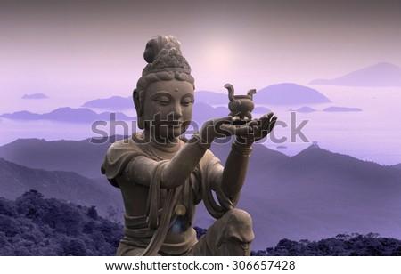 Buddhist statue at Po Lin Monastery - Lantau Island.  - stock photo