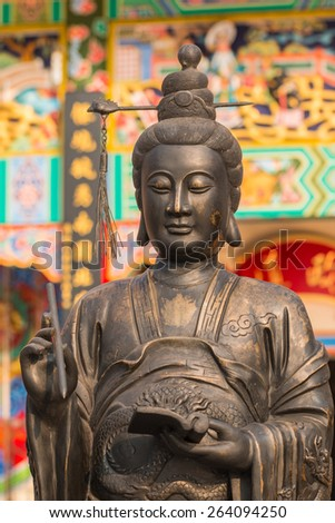 Buddhist Statue in chinese temple , Thailand - stock photo