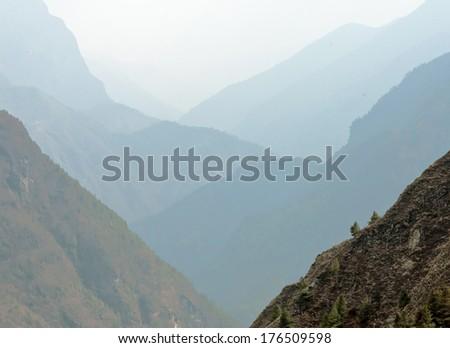 Buddhist stupa along the trail to Tengboche, Nepal - stock photo