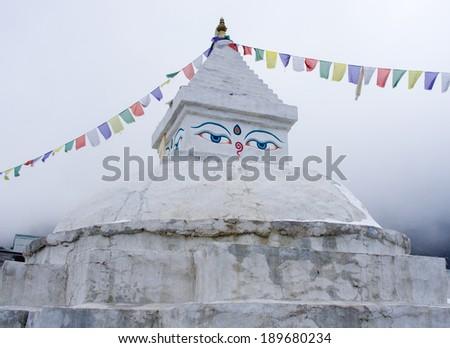 Buddhist stupa in Khunde, Everest region, Nepal - stock photo