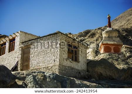 Buddhist stupas in Diskit Monastery, Ladakh, India - September 2014 - stock photo