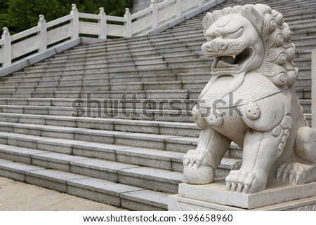 Buddhist temple at the Five Dragons mountain near Dandong, China - stock photo