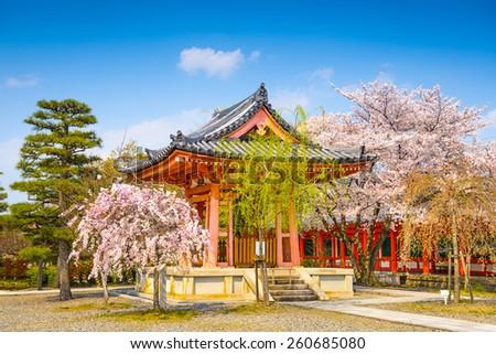 Buddhist Temple bellhouse during spring season at Sanjusangendo Shrine, Kyoto, Japan. - stock photo