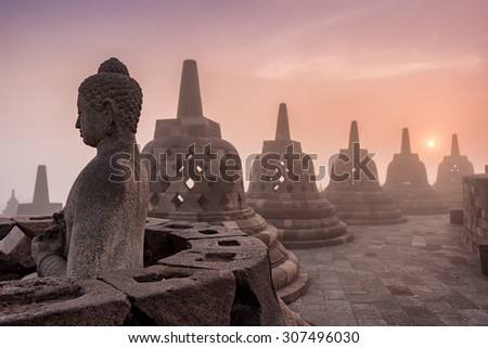 Buddhist Temple Borobudur Taken at Sunrise. Yogyakarta, Indonesia - stock photo