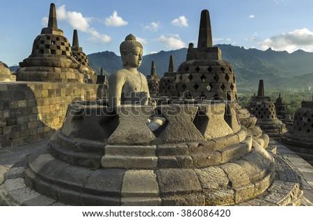 Buddhist temple Borobudur. Yogyakarta. Java,  - stock photo