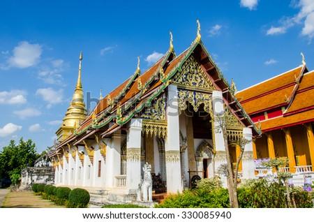 Buddhist temple, Chang Kum at Nan province, Thailand - stock photo