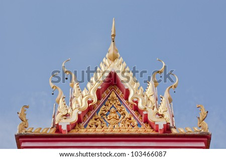 Buddhist temple gable with carved apex