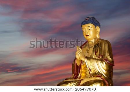 Buddhist Temple. Golden statue of Buddha-- southern Xian (Sian, Xi'an), Shaanxi province, China - stock photo