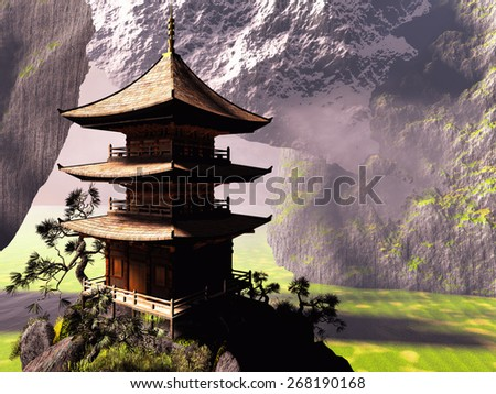 buddhist temple in Chinese mountains - stock photo