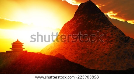Buddhist temple in high mountains - stock photo
