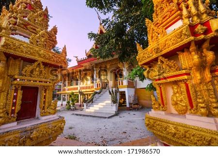 Buddhist temple in Laos - stock photo