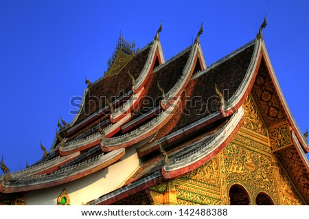 Buddhist Temple in Luang Prabang Royal Palace, Laos - stock photo