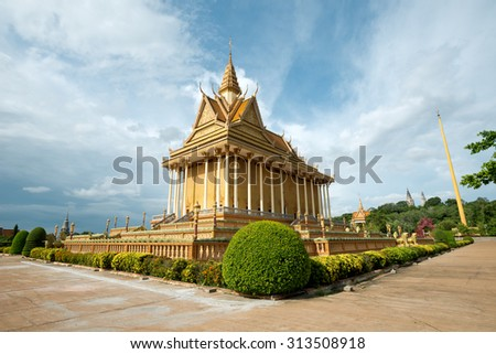 Buddhist Temple in Oudong, Cambodia - stock photo