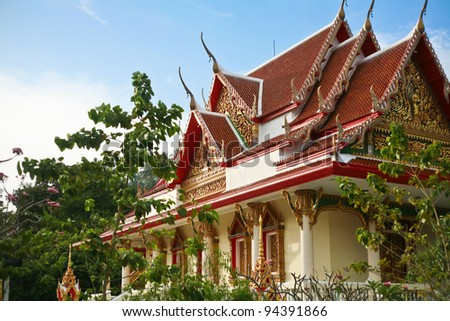Buddhist temple in southern Thailand. Phuket - stock photo