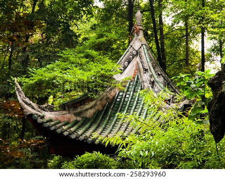 Buddhist temple roof hidden in the greenery, China - stock photo
