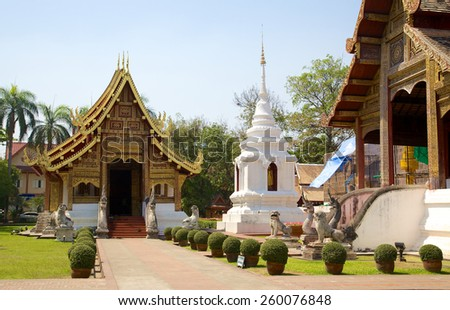 Buddhist temple Wat Phra Singh in Chiang Mai, Thailand - stock photo