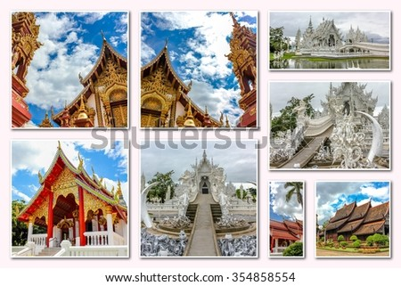Buddhist temples collage of several famous locations landmarks of Buddhist temples in the old city of Chiang Mai, Northern Thailand, Asia. - stock photo