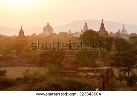 Buddhist temples in Bagan at sunset, Myanmar