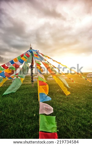 Buddhist tibetan prayer flags in tibet,china