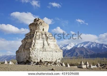 Buddhistic stupas (chorten) in the Himalayas, Ladakh, Jammu & Kashmir, India - stock photo