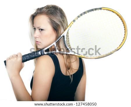 Budding tennis player. Victory. - stock photo