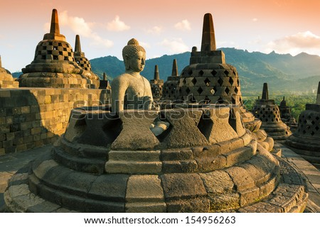 Buddist temple Borobudur at sunset. Yogyakarta. Java, Indonesia
