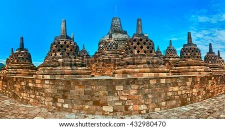 Buddist temple Borobudur in Yogyakarta. Java, Indonesia - stock photo