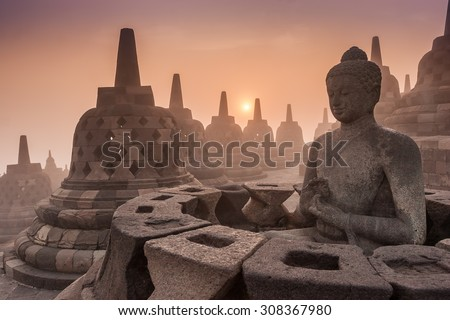 Buddist Temple Borobudur Taken at Sunrise. Yogyakarta, Indonesia - stock photo
