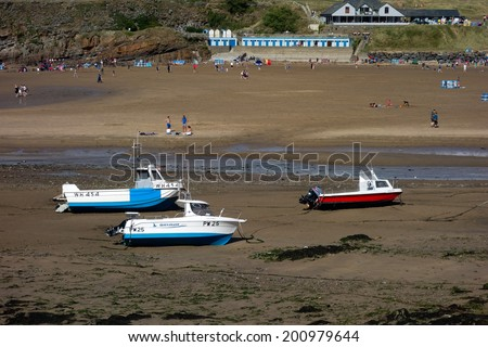 BUDE, CORNWALL/UK - AUGUST 12 : The beach at Bude in Cornwall on August 12, 2013. Unidentified people.
