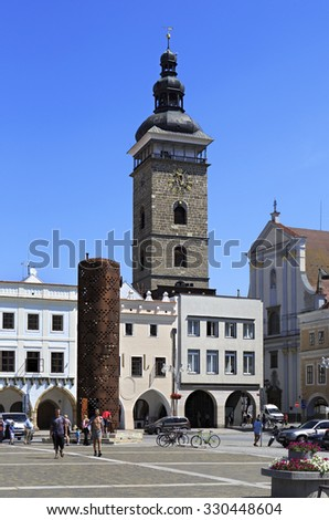 Budejovice, Czech Republic - July 3, 2013: Architecture in the square in historic center of Ceske Budejovice.