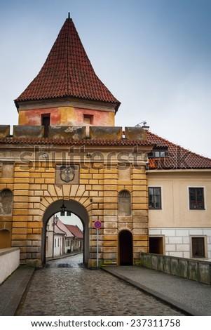 Budejovice gate entering Latran, Cesky Krumlov, Czech Republic - stock photo
