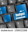 budget breakdown words on computer pc keyboard key button, raster - stock vector