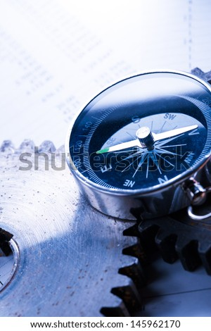Budget, compass and two mechanical ratchets - stock photo