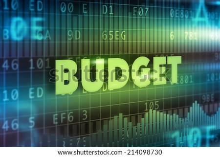 Budget concept blue background with green text - stock photo