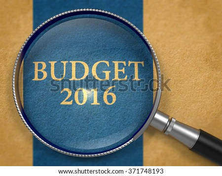 Budget 2016 Concept through Magnifier on Old Paper with Dark Blue Vertical Line Background. 3d Render.
