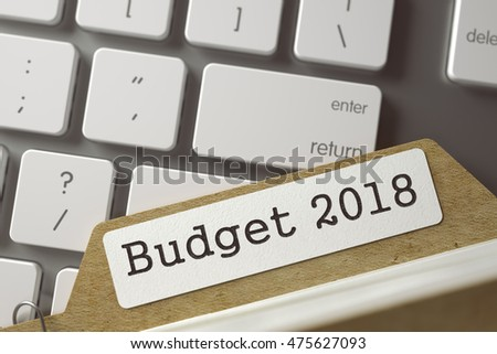 Budget 2018 Concept. Word on Folder Register of Card Index. Card File on Background of Computer Keyboard. Closeup View. Selective Focus. Toned Image. 3D Rendering.
