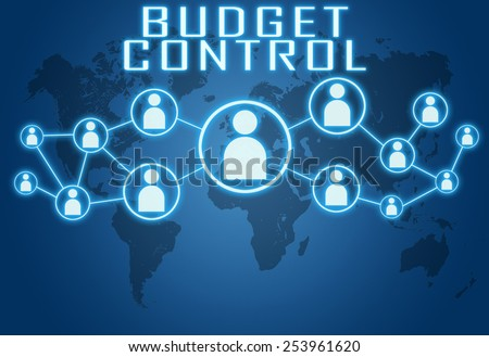 Budget Control concept on blue background with world map and social icons. - stock photo