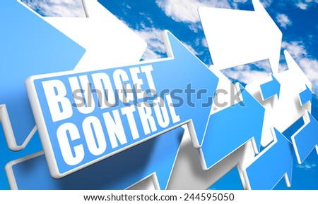 Budget Control 3d render concept with blue and white arrows flying in a blue sky with clouds - stock photo