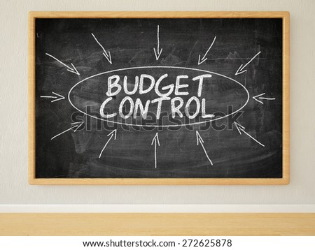 Budget Control - 3d render illustration of text on black chalkboard in a room. - stock photo