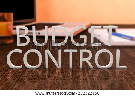 Budget Control - letters on wooden desk with laptop computer and a notebook. 3d render illustration. - stock photo