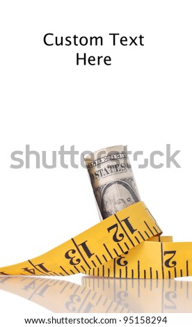 Budget Cuts Concept with Tape Measure Around a Dollar - stock photo
