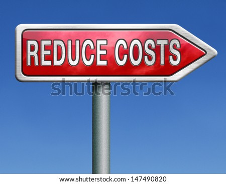 budget cuts reduce costs and cut spendings during crisis or economic recession - stock photo